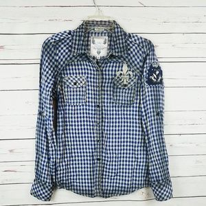 Roar embroidered plaid button down shirt